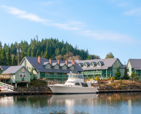 Luxury motor yacht Out tour boat at Canadian Princess lodge & marina in Ucluelet