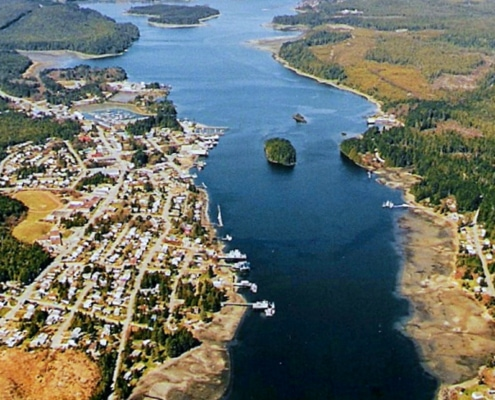 Aerial view of Ucluelet inlet