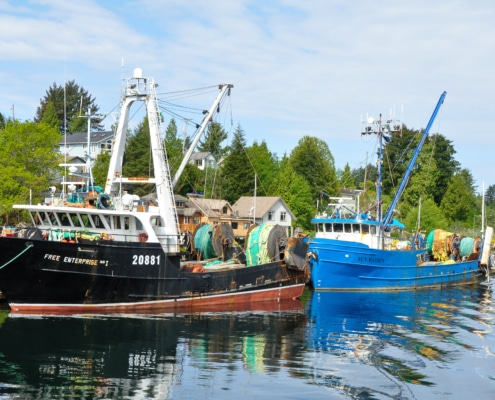 Two large fishing boats tied up at Ucluelet marina with houses in the background